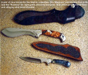 A fine pair of knives for a variety of hunting and field chores, the Magnum skinner and the Ruidoso in gemstone handles