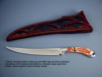"""Volans"" is a classic, stylish fillet knife, with a fine point and sweeping curved hollow ground blade"