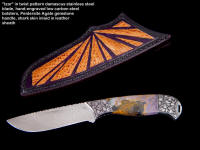 """Izar"" in twist pattern stainless steel damascus blade, hand-engraved carbon steel bolsters, Peitersite agate gemstone handle, Shark skin inlaid in hand-carved leather sheath"