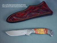 """Izar"" obverse side view, knife in 440C high chromium stainless steel blade, hand-engraved 304 stainless steel bolsters, Sunset Jasper gemstone handle, hand-carved leather sheath"