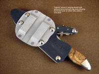 """Calisto"" in locking waterproof knife sheath, shown with horizontal belt plate attachment"