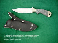 """Creature"" tactical CSAR, combat knife with locking sheath in kydex, aluminum, and stainless steel"