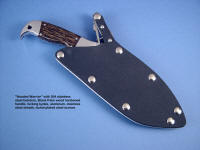Hooded Warrior sniper's combat knife in locking sheath, worthwhile security in fine combat knife sheaths