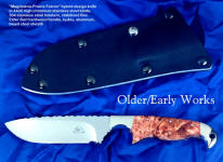 """Magdalena-Prairie Falcon"" hybrid design knife in 440C high chromium stainless steel blade, 304 stainless steel bolsters, stabilized box elder burl hardwood handle, kydex, aluminum, blued steel sheath"