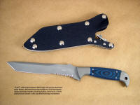 """PJLT"" Tactical Combat, Search and Rescue knife, obverse side view;  in 440C high chromium stainless steel blade, 304 stainless steel bolsters, Blue/Black G10 fiberglass/epoxy laminate handle, locking kydex, aluminum, stainless steel sheath"