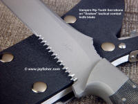 """Vampire"" rip tooth serrations on combat tactical knife. Alternating large, small cuts increase agressiveness"