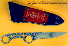 """Shank"" in hand-engraved 440C high chromium stainess steel blade, tension fit kydex, aluminum, blued steel sheath, International Association of Firefighters commemorative edition"