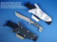 """Arctica"" tactical, combat, CSAR, survival knife, obverse side view in 440C high chromium stainless steel blade, 304 stainless steel bolsters, gray/black G10 fiberglass/epoxy laminate handle, polar digital camo kydex, aluminum, stainless steel locking sheath"