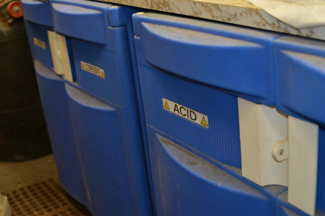 Acid and caustic chemical storage cabinets