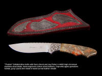 """Thuban"" collaborative knife with Gerry Hurst in 440C stainless steel, hand-engraved carbon steel bolsters, Coprolite Agate gemstone handle, gray Lizard skin inlaid leather sheath"