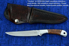 """Yarden"" obverse side view in CPMS30V high vanadium tool steel blade, 304 stainless steel bolsters, Thuya burl hardwood handle, hand-tooled leather sheath"
